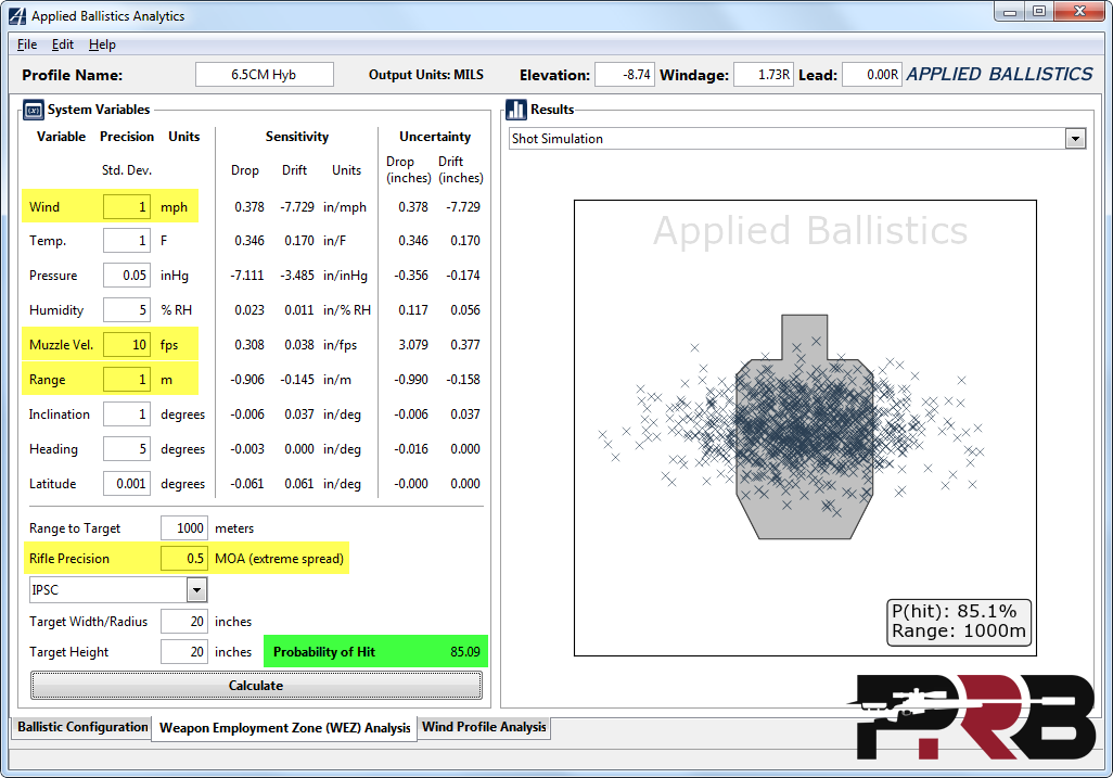 Applied Ballistics WEZ Analysis Screenshot