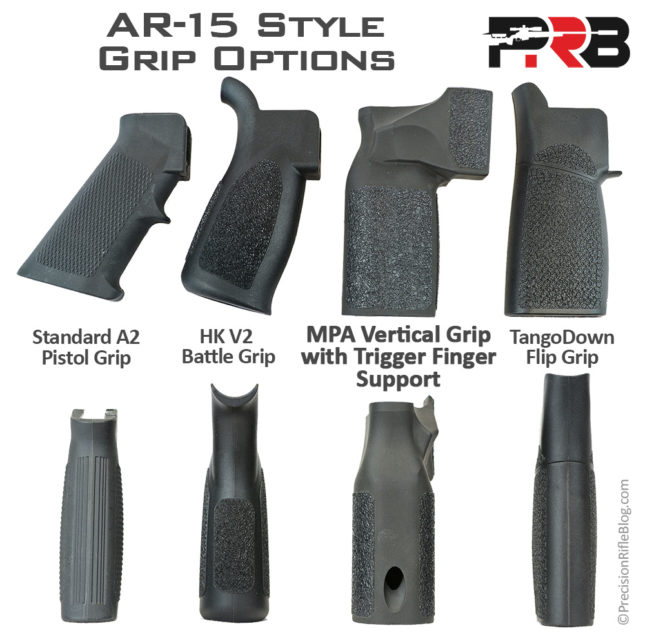 AR-15 Grip Options MPA Vertical Grip A2 Pistol HK V2 TangoDown Flip