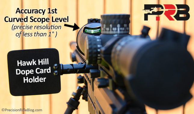 Accuracy 1st Bubble Level and Hawk Hill Dope Holder Picatinny