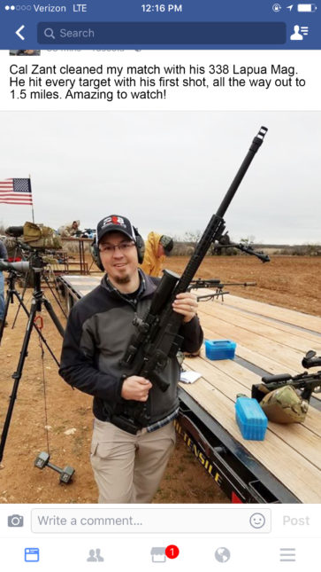 Cal Zant Wins Texas ELR Rifle Match